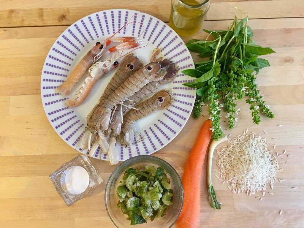 ingredienti risotto agli scampi con cicale