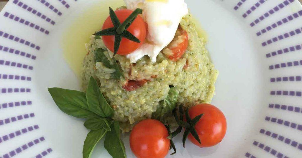 sformato di riso pesto burrata-e-pomodorino-pachino