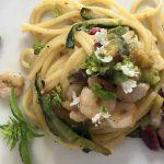 Spaghetti con gamberetti, pistacchio di Bronte e zucchine