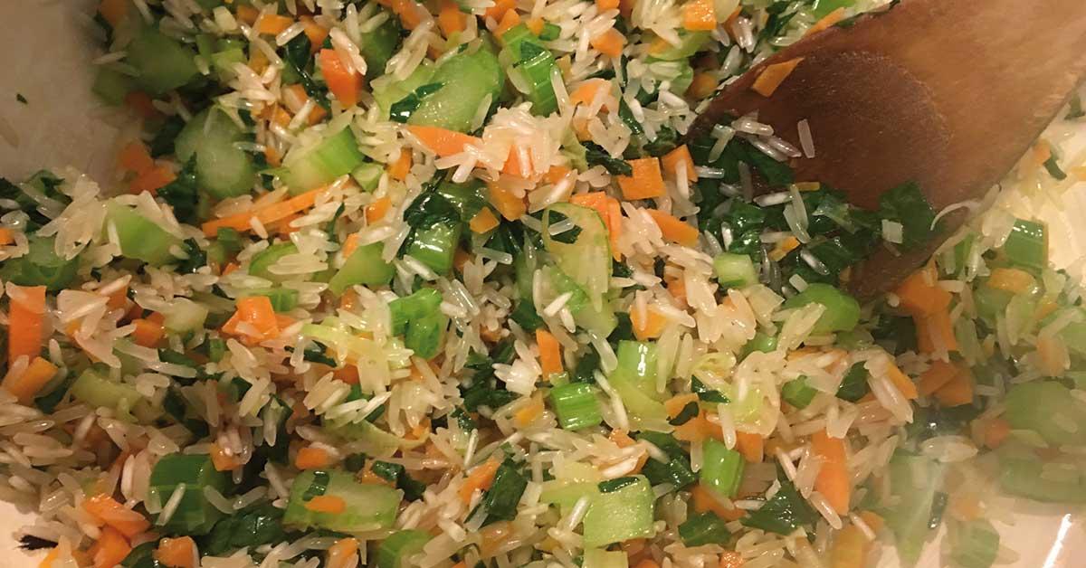 soffritto del risotto con verdure