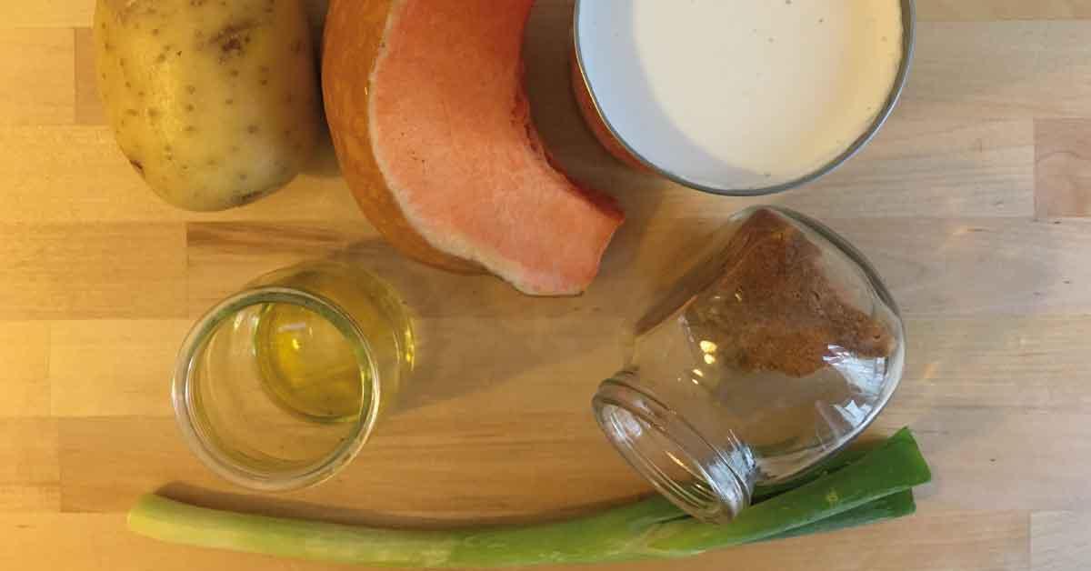 ingredienti per la vellutata di zucca