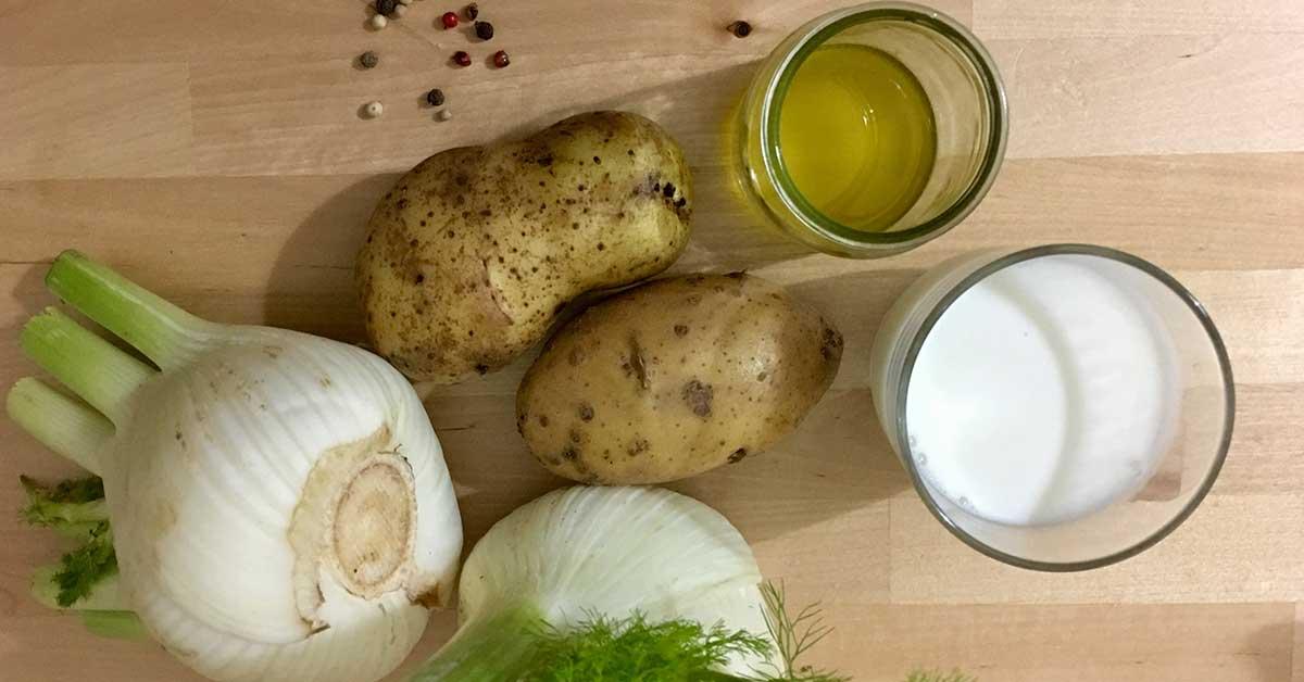 ingredienti per la vellutata di finocchi
