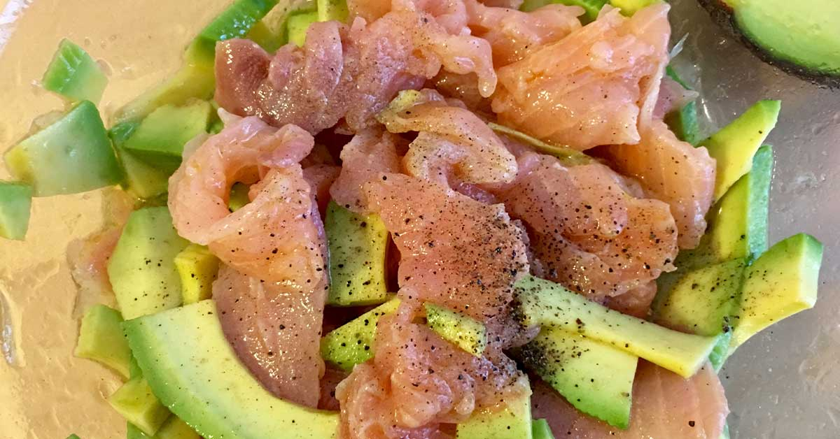 marinatura salmone e avocado