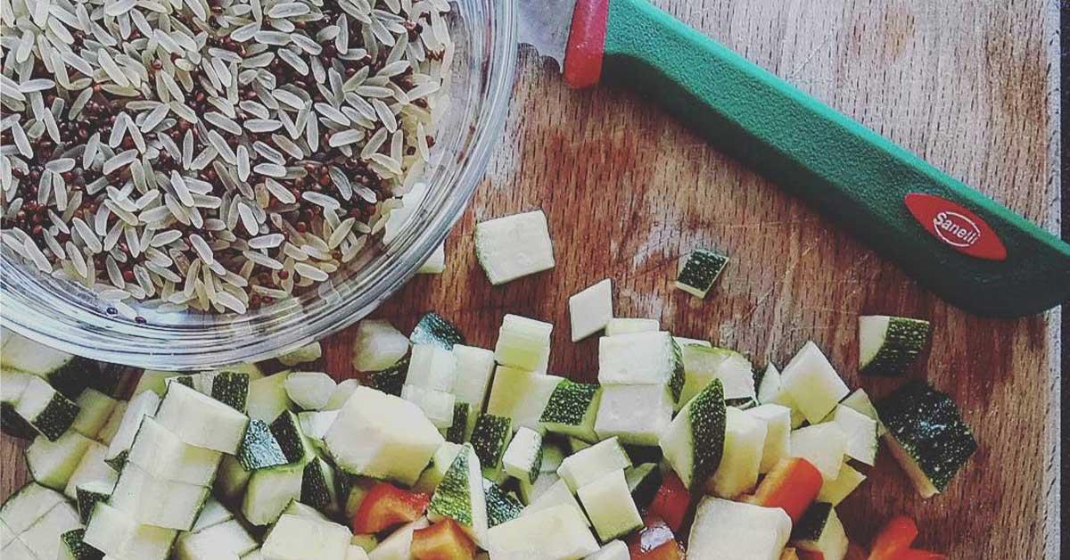 riso e quinoa con verdure