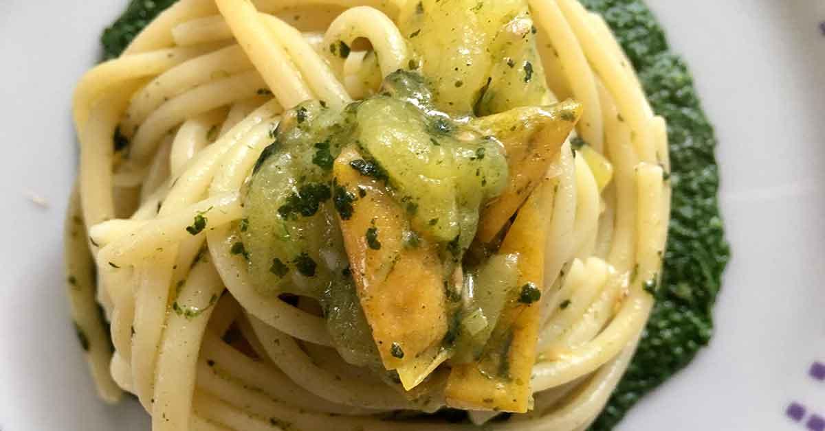 spaghetti cavolo e pomodoro giallo