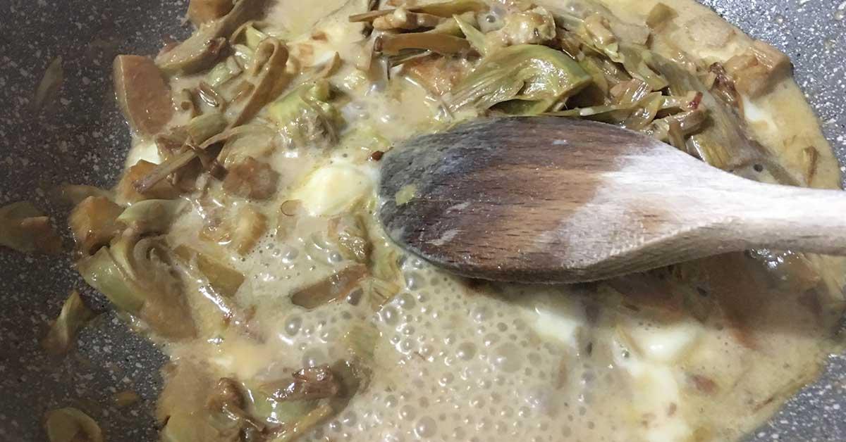 condimento-con-carciofi-e-taleggio-preparazione