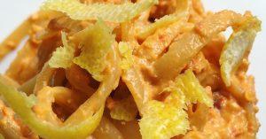Linguine al pesto di pomodoro secco e scorza di limone