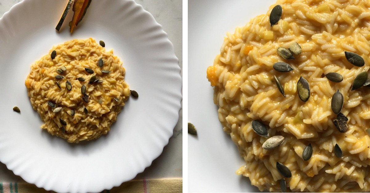 impiattamento riso con zucca e stracchino con semi di zucca tostati