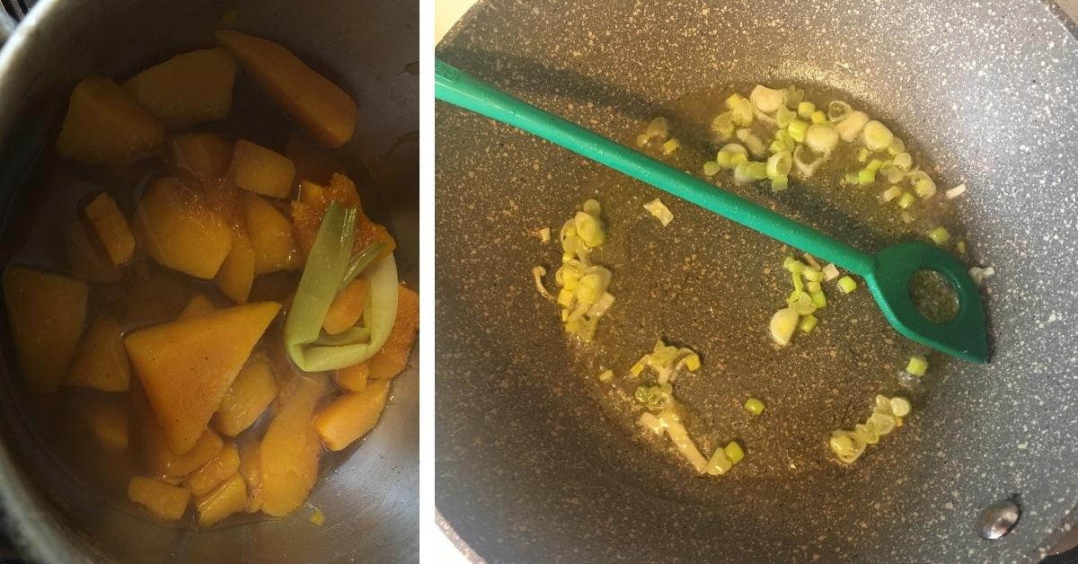 preparazione del risotto con zucca e stracchino